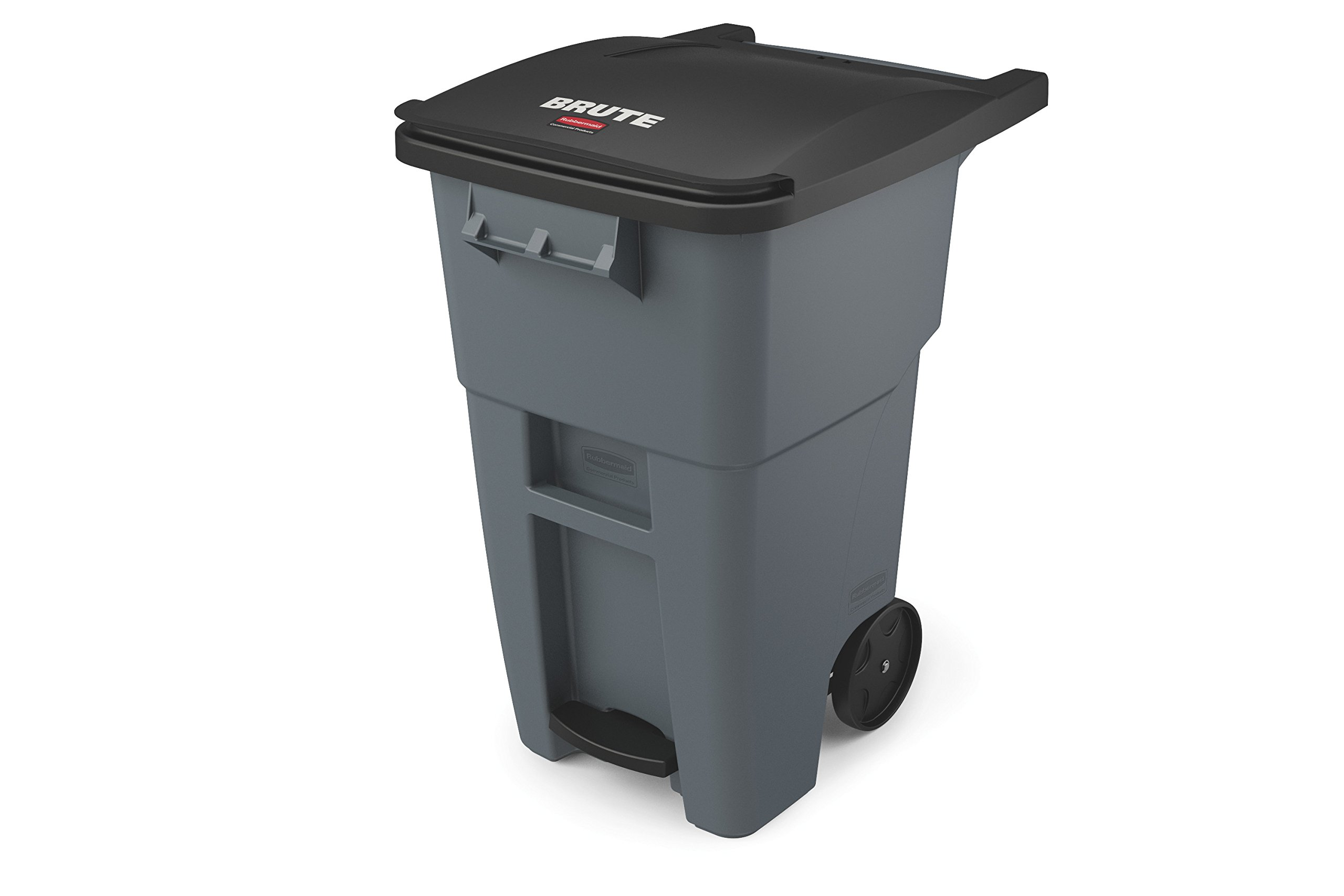 Rubbermaid Commercial 1971956 Brute Step-On Rollout Trash Can, 50 gal/189 L, 39.578'' Height, 24.000'' Width, Gray