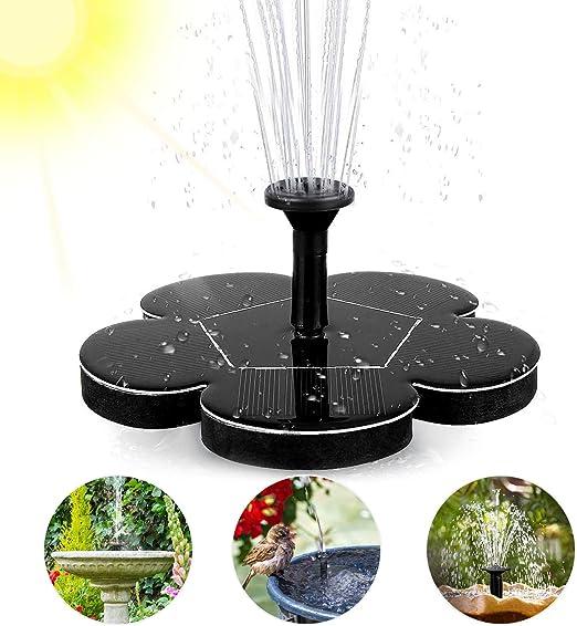 woopus Fuente Solar, Bomba de Agua para Exterior para Estanque con Panel Solar monocristalino de 1,4 W, para estanques de jardín o Fuentes, para pájaros y Peces, Fuente de jardín: Amazon.es: Jardín