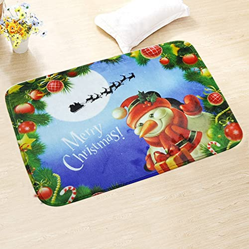 JIAN YA NA Christmas Bath Toilet Mat Non-Slip Area Rugs Carpet Doormat Floor Mat – Absorbent Mats Bathroom Rug Bedroom Living Room Kitchen, Bed, Car Seat Christmas Snowman