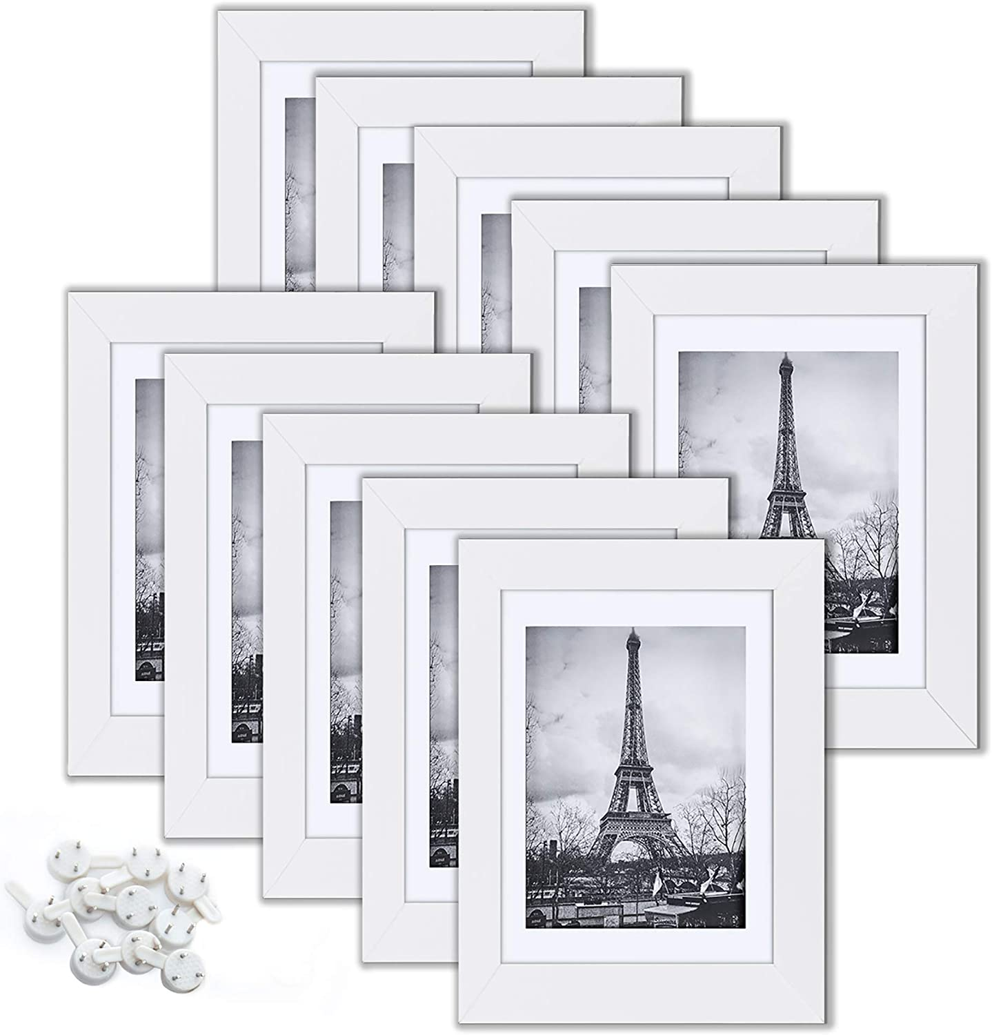 upsimples 5x7 Picture Frame Set of 10, Display Pictures 4x6 with Mat or 5x7 Without Mat, Multi Photo Frames Collage for Wall or Tabletop Display, White -