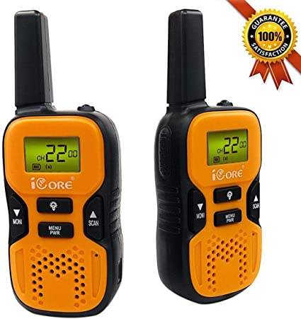 22 Channel Walky Talk Rechargeable iCore Walkie Talkies for Kids Long Range Walkie Talkie with 2 Way Radios Built-in Flash Light for Girls Boys Toys Age 6 7 Year Old Up Orange Pair