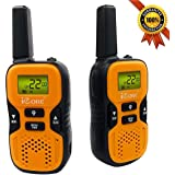 iCore Walkie Talkies for Kids, Toys Costume Long Range Talkie with 2 Way Radios (Pair), 22 Channel Walky Talk Rechargeable, Built in Flash Light Little Girls Boys(Orange)