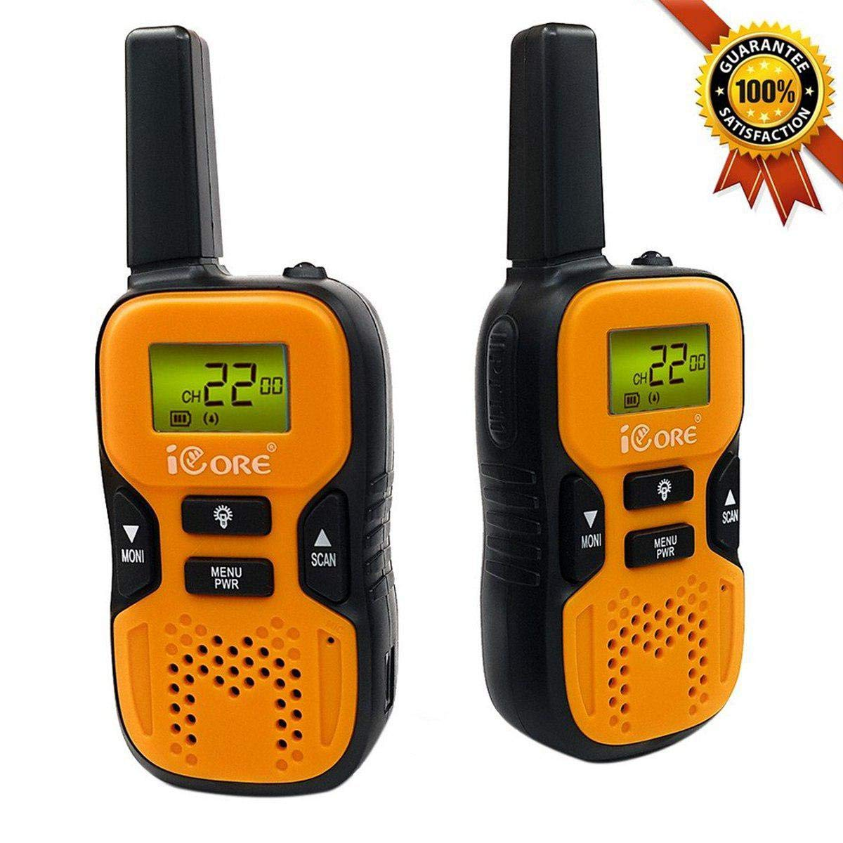 iCore Walkie Talkies for Kids, Long Range Walkie Talkie with 2 Way Radios (Pair), 22 Channel Walky Talk Rechargeable, Built-in Flash Light for Girls Boys Toys Age 6 7 Year Old Up (Orange) by iCore (Image #1)