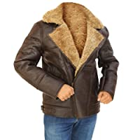 NM Fashions Men's RAF B3 Winter Flight Brown Real Shearling Sheepskin Leather Flying Jacket