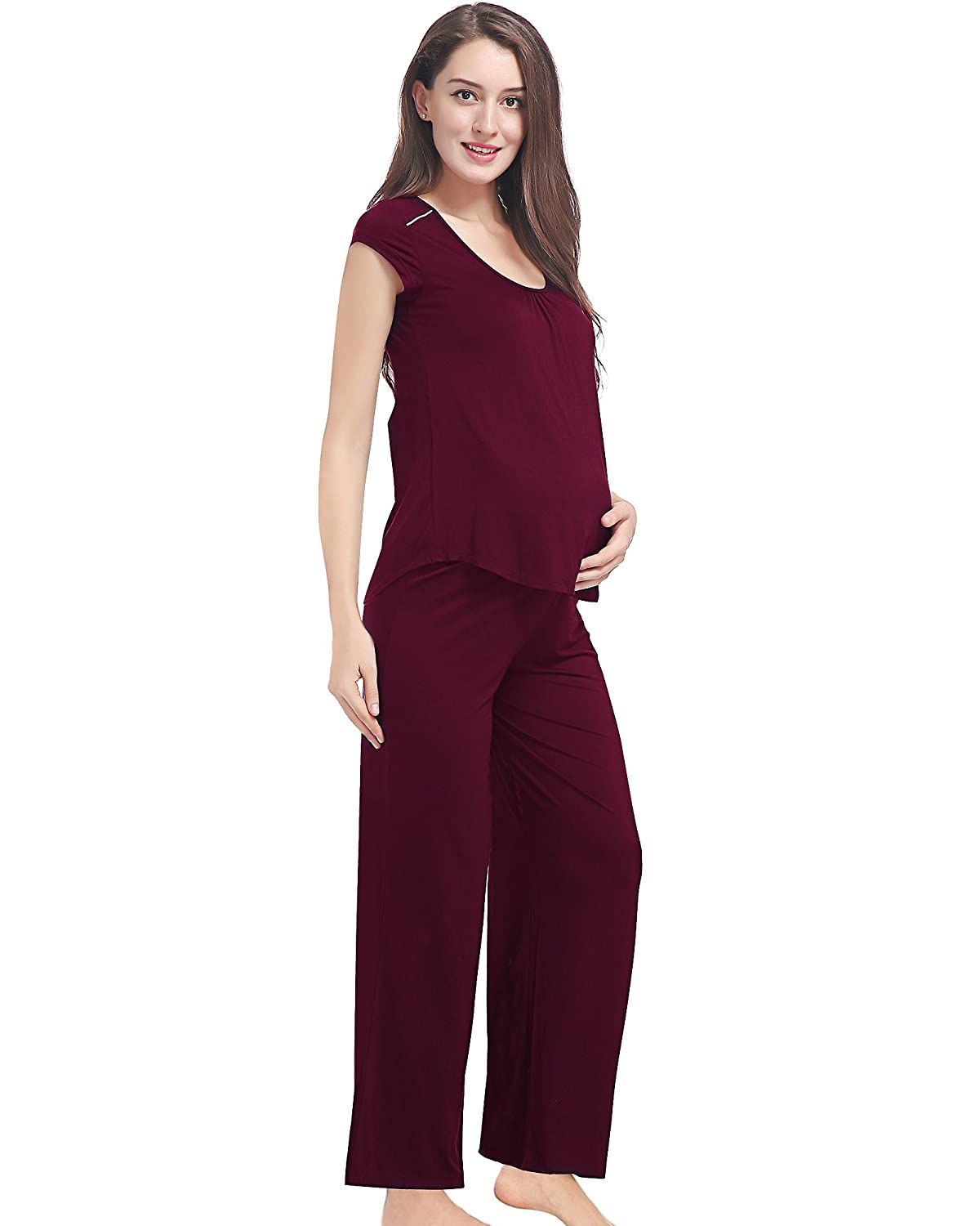 GYS Soft Bamboo Maternity Loungewear Nursing Pajama Pants Set AMN-702T