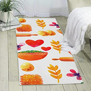 Amazon Com Workout Mat For Yoga Delicious Food Print Area Rug