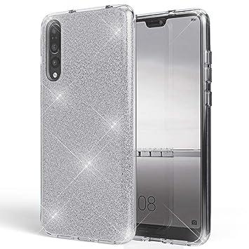 Coovertify Funda Purpurina Brillante Plateada Huawei P20 Pro, Carcasa Resistente de Gel Silicona con Brillo Gris Plata para Huawei P20 Pro (6,1