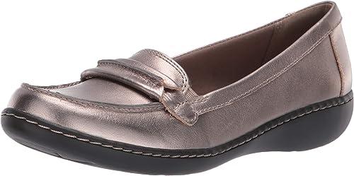Clarks Pewter Leather Ashland Spin Slip on Shoe NEW