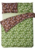 HBS Pixel Bedding Set Double Bed Duvet / Quilt Cover Bedding Set Pixel Squares Reversible Check Bedding Duvet Cover with Pillowcases Green & Brown