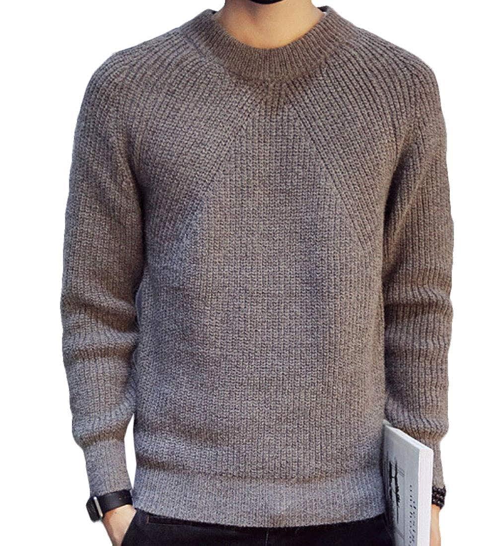 xiaohuoban Mens Knit Autumn Long Sleeve Crew Neck Pullover Slim Jumper Sweater Outwear
