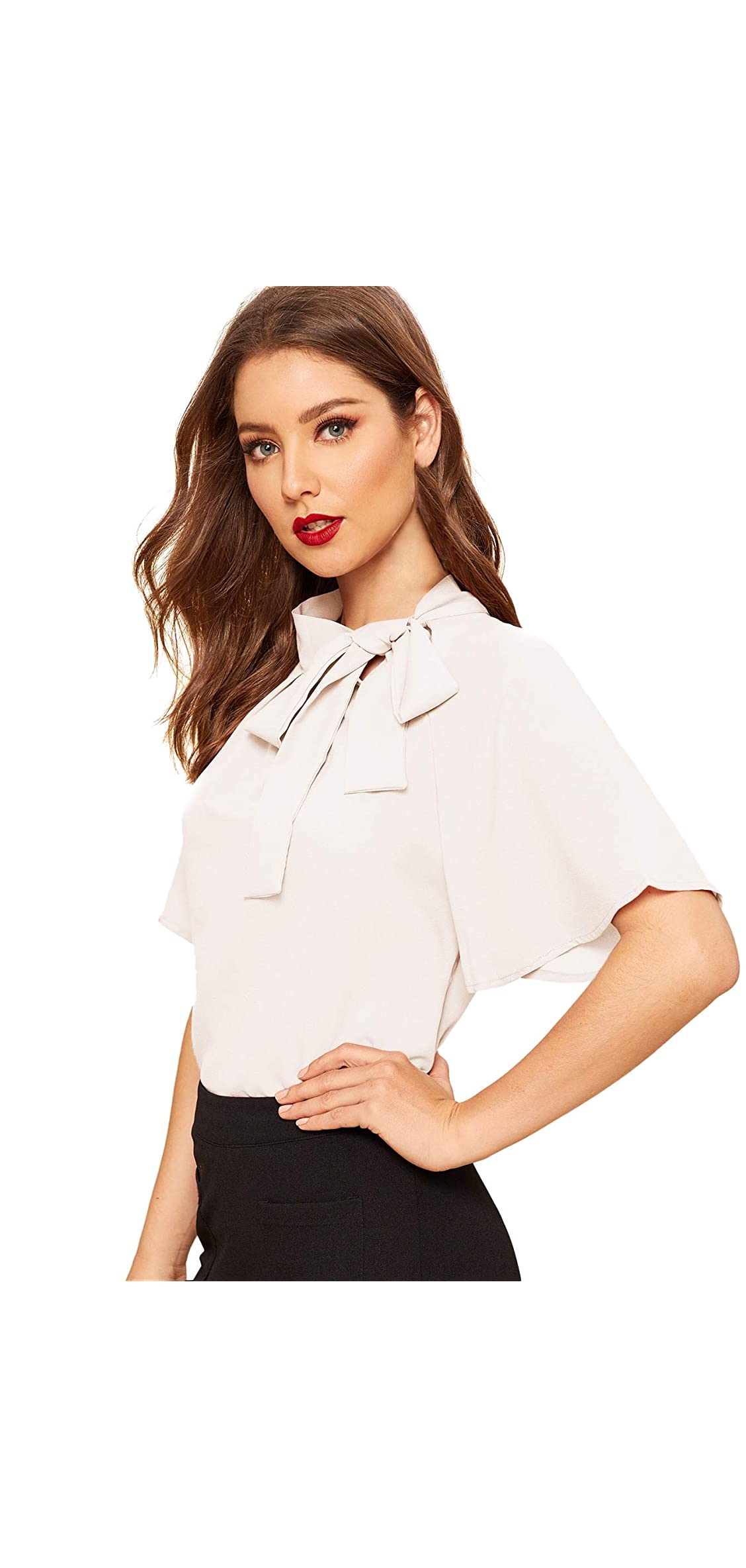 Women's Casual Side Bow Tie Neck Short Sleeve Blouse Shirt