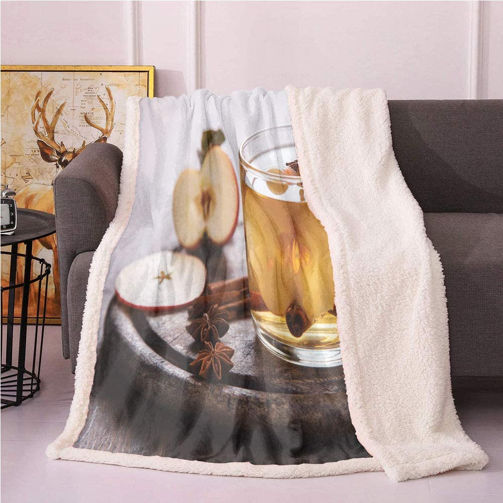 SeptSonne Apple Cider Plush Blanket,Photo of Winter Drink in Glass Mug with Cinnamon Sticks and Fresh Fruit Slice Light Thermal Blanket,Print Artwork Blankets(60x80 Inches,Multicolor)