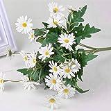 Babysbreath Bouquet de fleurs de marguerite artificielle en soie blanc