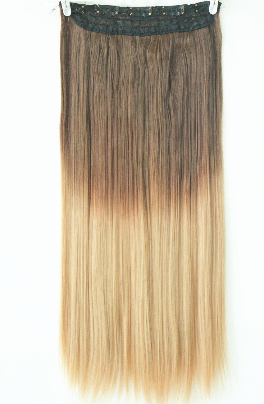 Amazon 20 22 34 full head clip in hair extensions ombre amazon 20 22 34 full head clip in hair extensions ombre one piece 2 tones straight black brown blonde red chocolate brown to sandy blonde pmusecretfo Images
