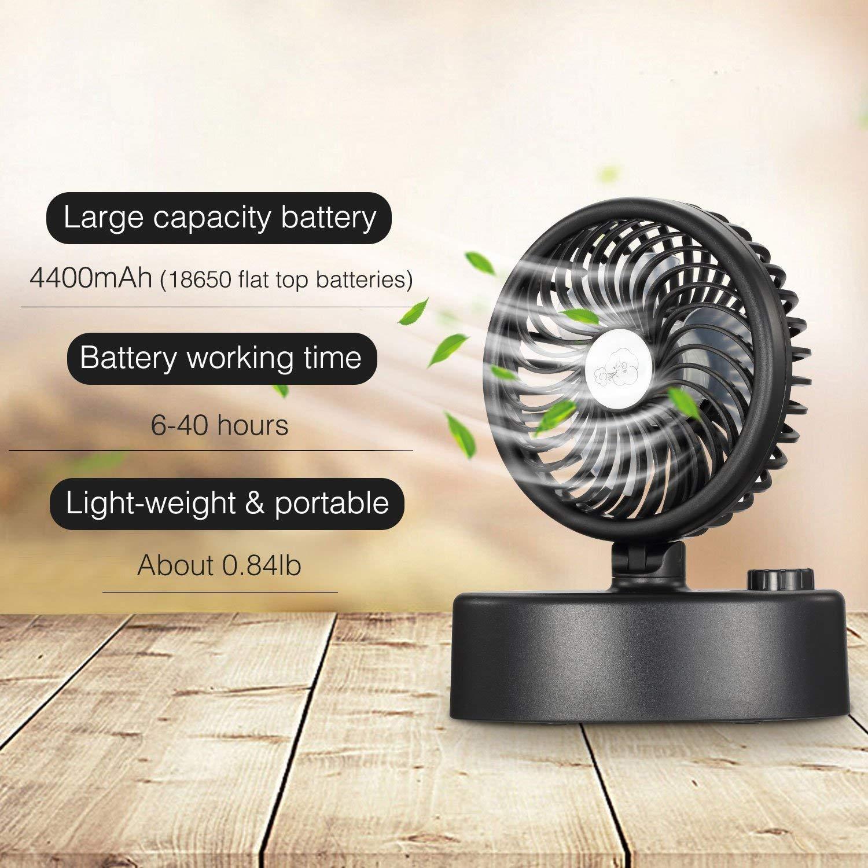 Ventilateur USB de bureau,60°Rotation automatique,Mini ventilateurs Silencieux avec Batterie Rechargeable pour la maison, le bureau, les voyages et le camping