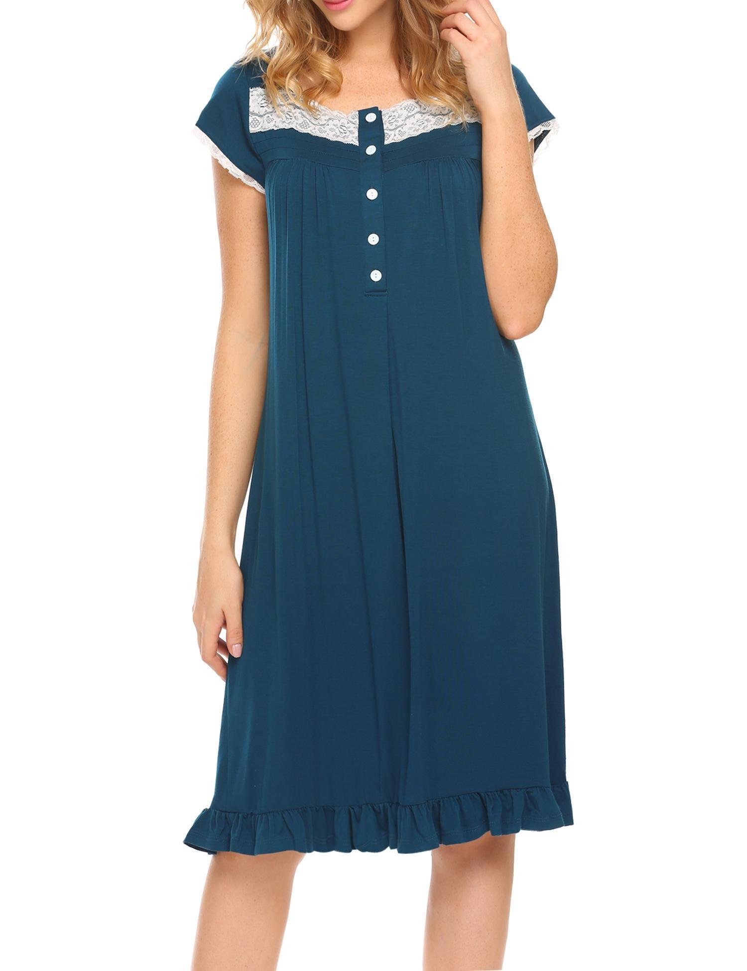 Women's Night Gowns Short Sleeve Button-Down Sleepshirt House Dress,Blue,Large by DonKap (Image #2)
