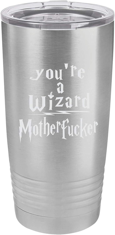 「You're a Wizard Motheropher」おもしろマジカルブック風デザイン ステンレススチール トラベルタンブラー 20オンス シルバー