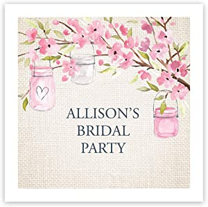 Pink Blossoms Personalized Beverage Cocktail Napkins - 100 Custom Printed Paper Napkins