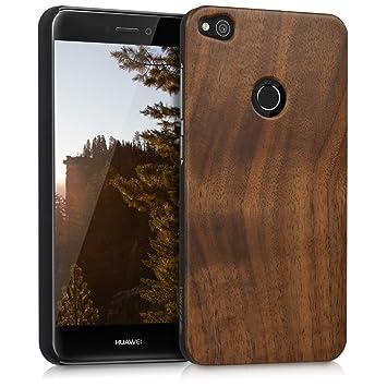 kwmobile Funda para Huawei P8 Lite (2017) - Carcasa Posterior de [Madera] - Case Protector [Duro] en [marrón Oscuro]