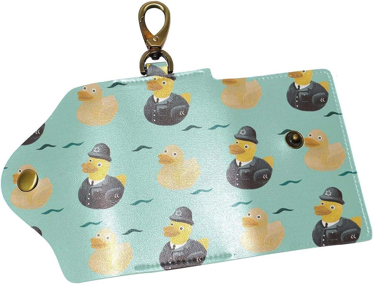 KEAKIA Ducks Leather Key Case Wallets Tri-fold Key Holder Keychains with 6 Hooks 2 Slot Snap Closure for Men Women