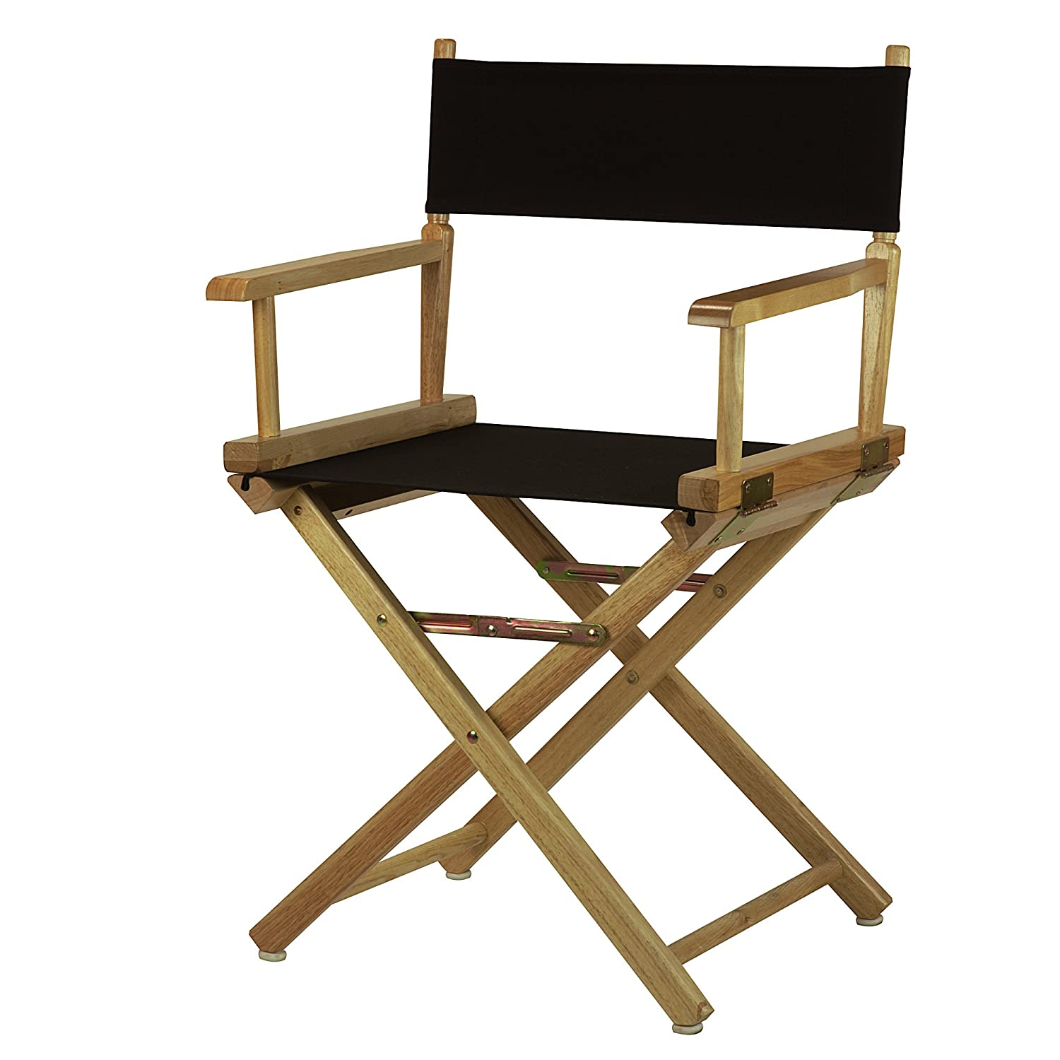 Black 18-Inch Casual Home 30-Inch Director Chair Natural Frame, Black Canvas