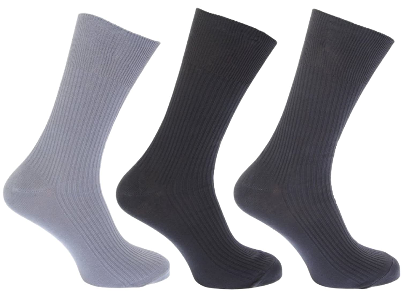 349187196 3pk Mens GoldStyleTM 100% Cotton SOFT TOP Elastic. Extra Comfort. Ribbed  Suit Socks Sizes 6-11 11-13 Bigfoot (6-11