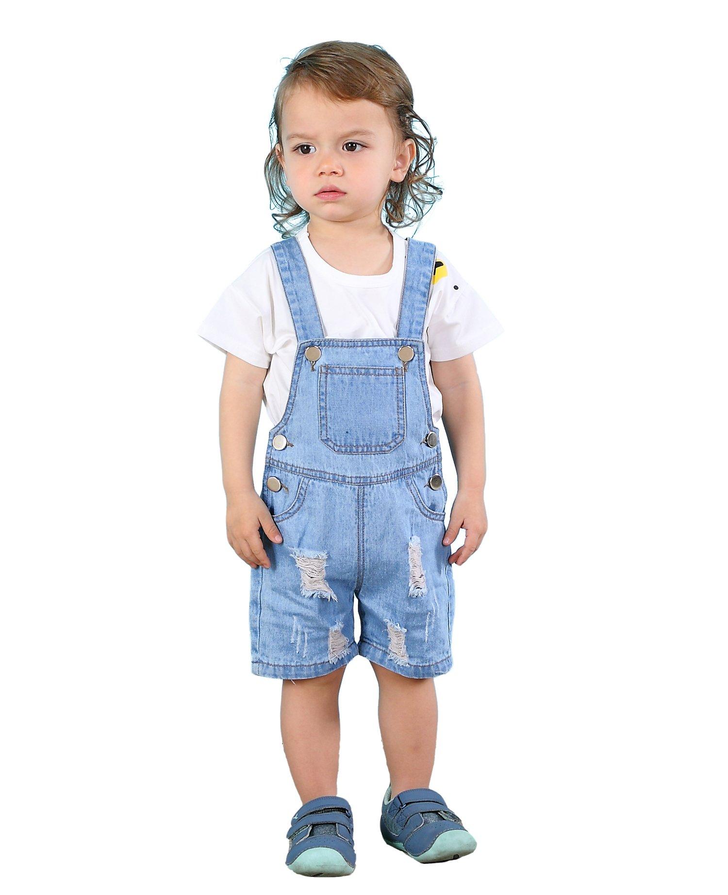 Kidscool Baby & Toddler Girls/Boys Big Bibs Ripped Hole Summer Jeans Shortalls,Light Blue,4-5 Years by Kidscool (Image #1)