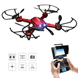Drone, Potensic® F181DH RC Quadcopter RTF Altitude Hold UFO with Newest Hover Function, 2MP HD Camera, 5.8Ghz FPV LCD Screen Monitor& 3D Flips Function - Red