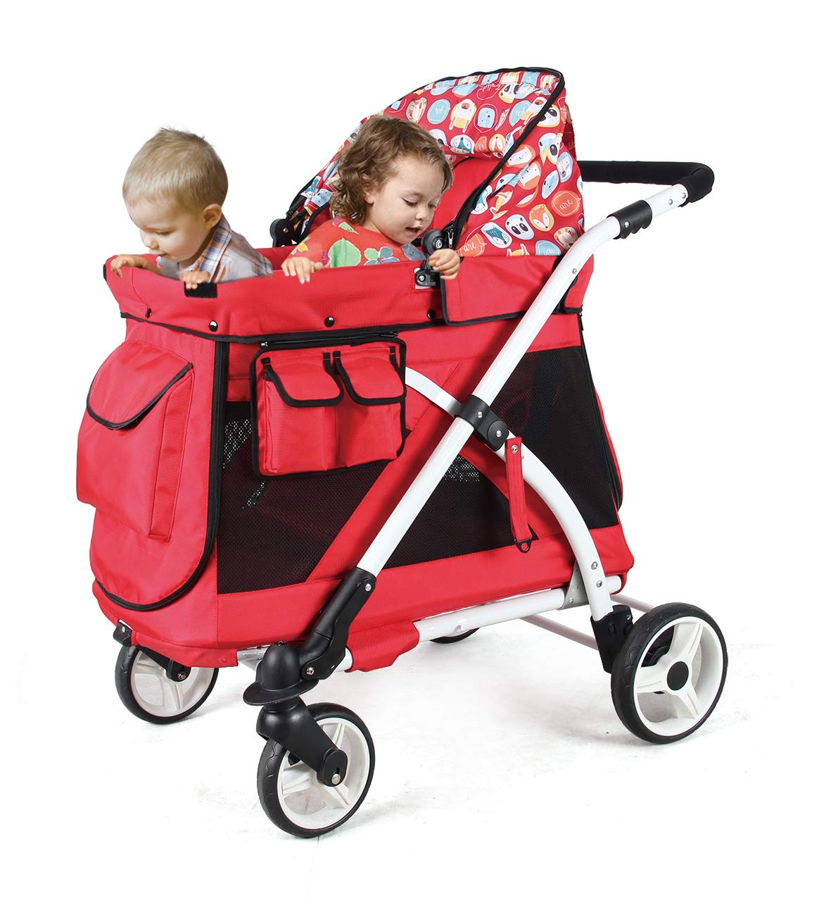 Familidoo Multi-Purpose Folding Single Stroller Wagon with Deep Carriage, Zipper Doors, Removable & Reversible Canopy, Seat (Chariot Mini Red) by FAMILIDOO