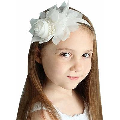 1PCS Baby Girl Rhinestone Headbands Pearl Flower Ribbon Flower Princess Hairband