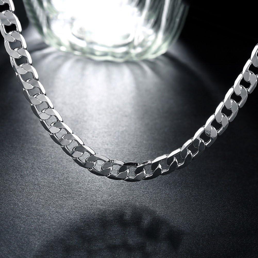 ENYU 4MM Acier Inoxydable Collier Figaro pour Bijoux Couleur Argent Homme Femme Unisexe cha/îne de Collier 55-61CM