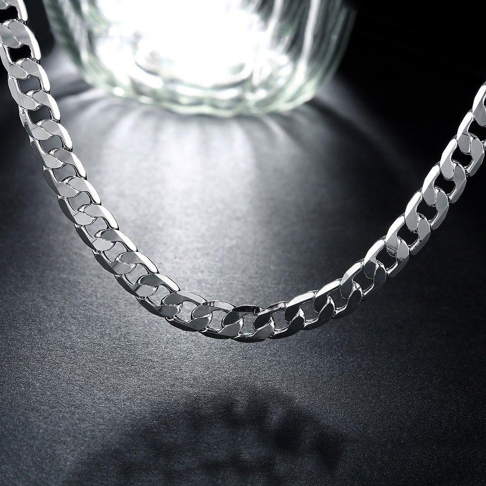 ENYU Collier pour Homme Cha/îne Bijoux P/ère Acier Inoxydable Couleur Argent Plaqu/é Figaro Maille For/çat Longueur 51 cm Largeur 8 mm