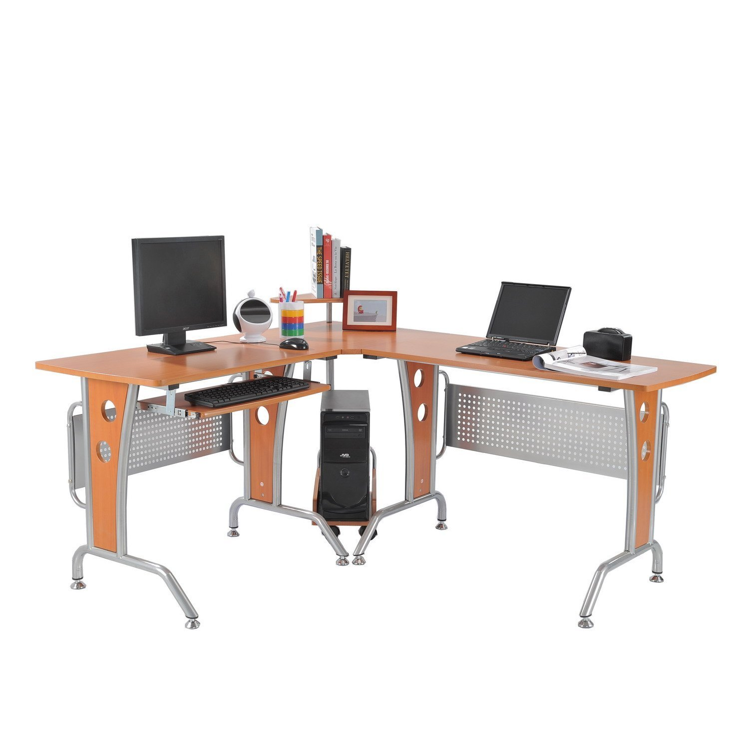 Eck computertisch  Homcom A2-0076 Computertisch, Holz, braun, 170 x 140 x 86,5 cm ...