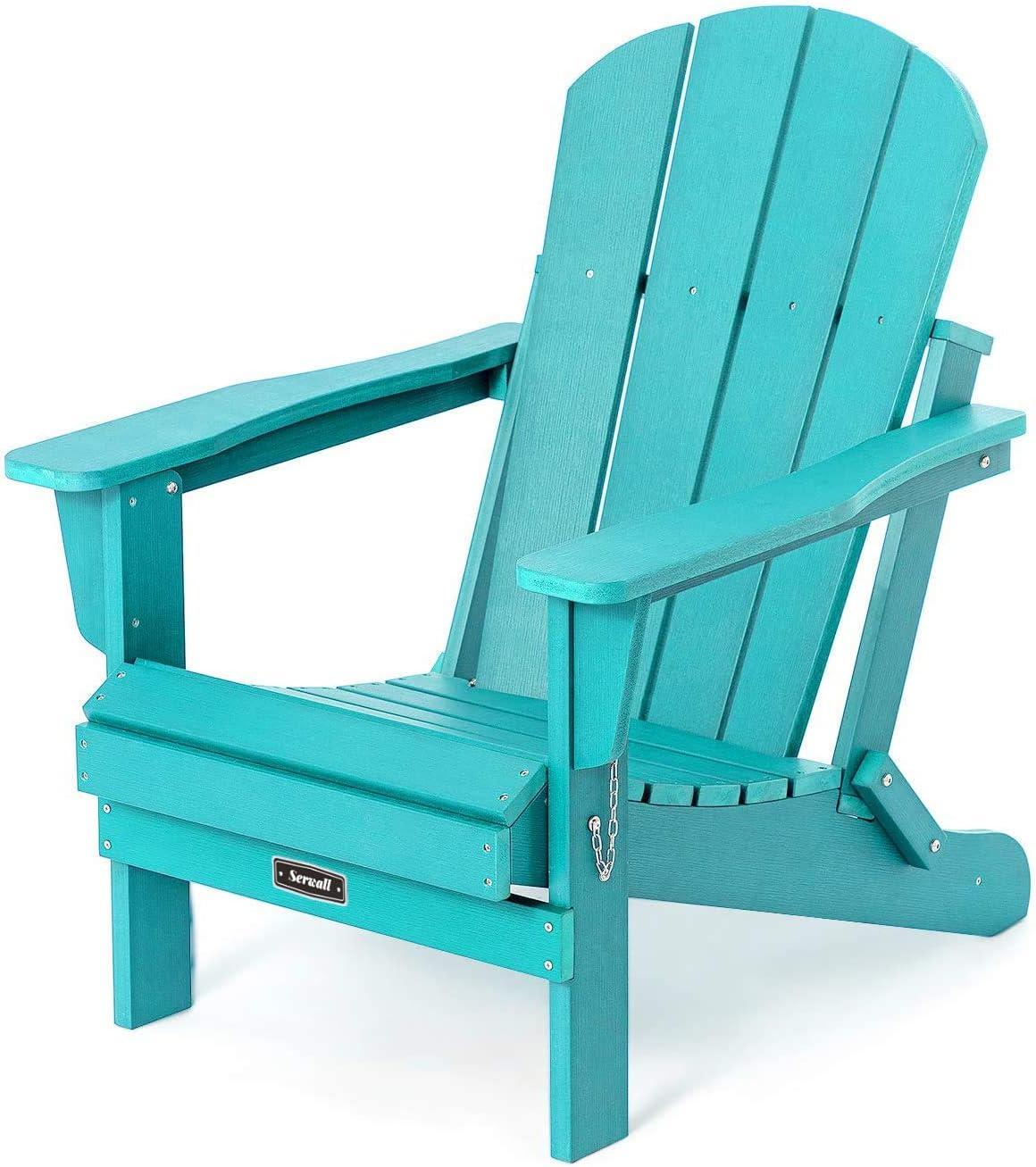 Folding Adirondack Chair Patio Chair Lawn Chair Outdoor Chairs Painted Adirondack Chairs Weather Resistant- Aruba Blue