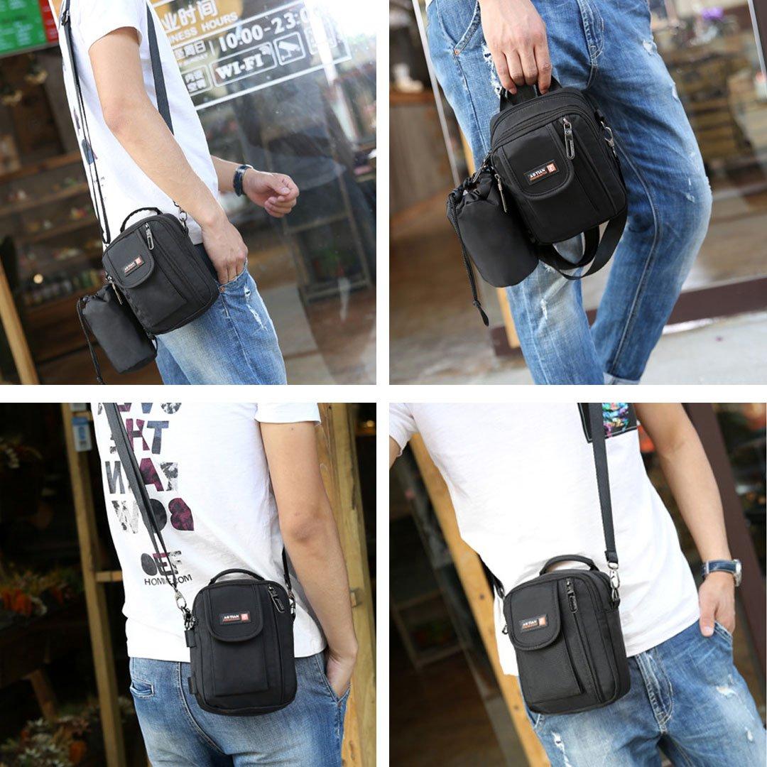 Multi-function Waterproof Shoulder Bag Crossbody Messenger Bag Handbag with Water Bottle Holder Pocket