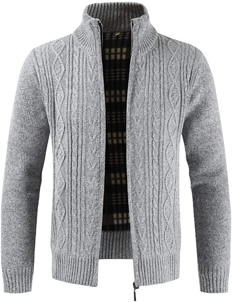 Sunshey Mens Knitted Chunky Cardigan with Full Front Zipper Plain Fleece Lined Jumper