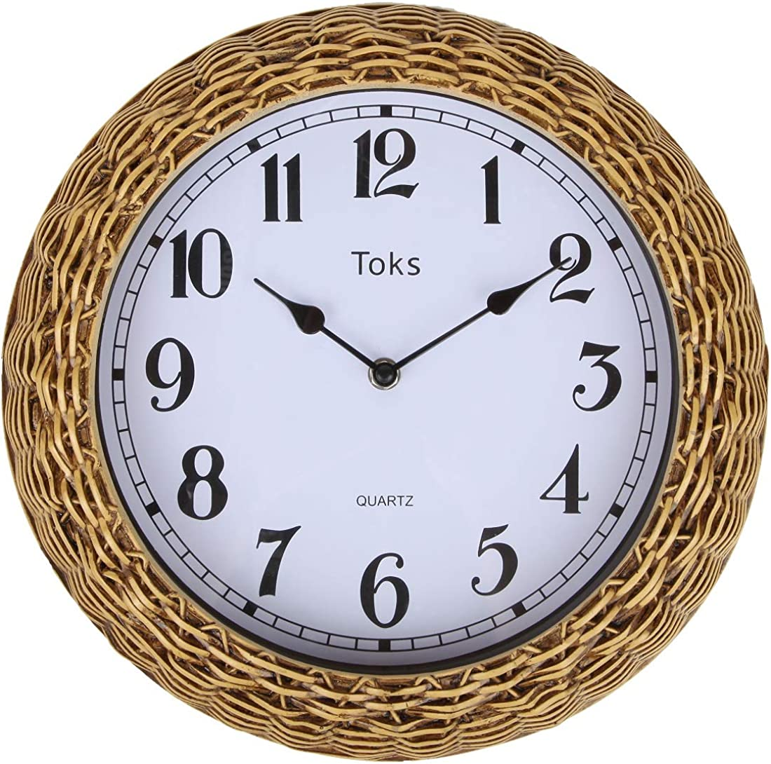 Lily's Home Country-Inspired Woven Rattan Wicker Basket Indoor Outdoor Wall Clock, 12.5 Inch