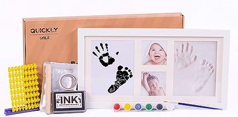 Kit de marco para huellas de bebe de Arcilla y Tinta-molde de letras y numeros con 6 tintas y pincel.Marco fotos bebe de madera y cristal ...