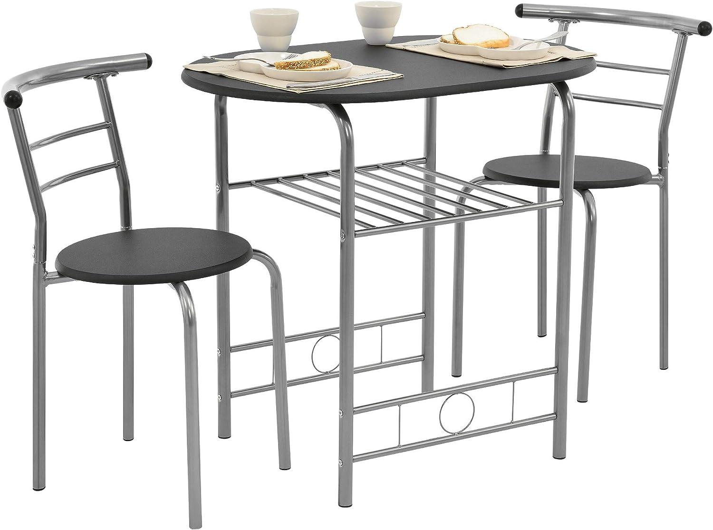 [en.casa] Set Bistro - Juego de Muebles - Mesa con 2 sillas - Negro/Plata - Hierro - MDF