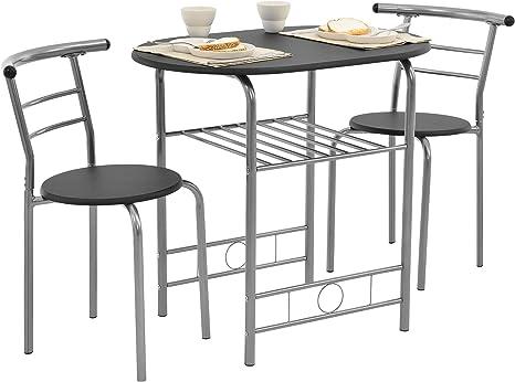 [en.casa] Set mobili Bistro Tavolo con 2 sedie NeroArgento Metallo, MDF