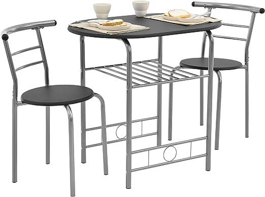 en.casa] Set Bistro - Juego de Muebles - Mesa con 2 sillas - Negro/Plata - Hierro - MDF: Amazon.es: Jardín