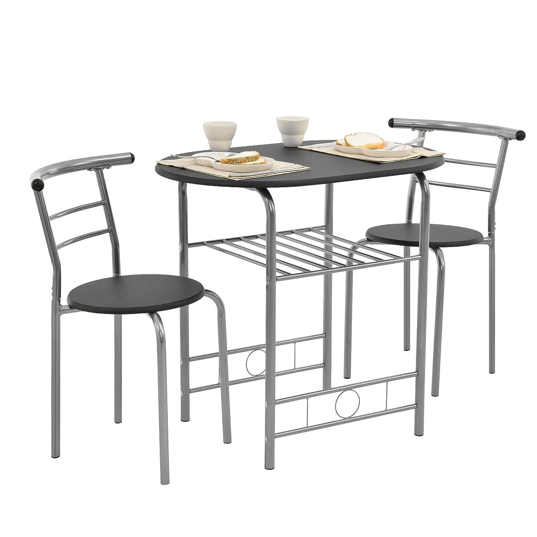[en.casa] Set mobili Bistro - Tavolo con 2 sedie - Nero/Argento - Metallo, MDF [en.casa]®