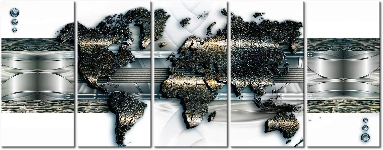murando Impression sur Toile intissee Carte du Monde 200x80 cm Tableau 5 Parties Tableaux Decoration Murale Photo Image Artistique Photographie Graphique Carte du Monde en Couleurs k-A-0241-b-n