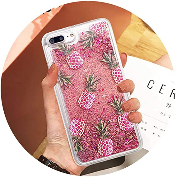 b06fc3a79015 Image Unavailable. Image not available for. Color  Bling Luxury Glitter  Powder Fashion Liquid Quicksand Pink PinePhone Case ...