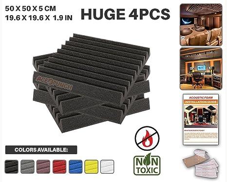Ace Punch 4 piezas NEGRO Cuña Studio Foam Panel Aislamiento Acústico Tratamiento Espuma Acústica con lengüetas