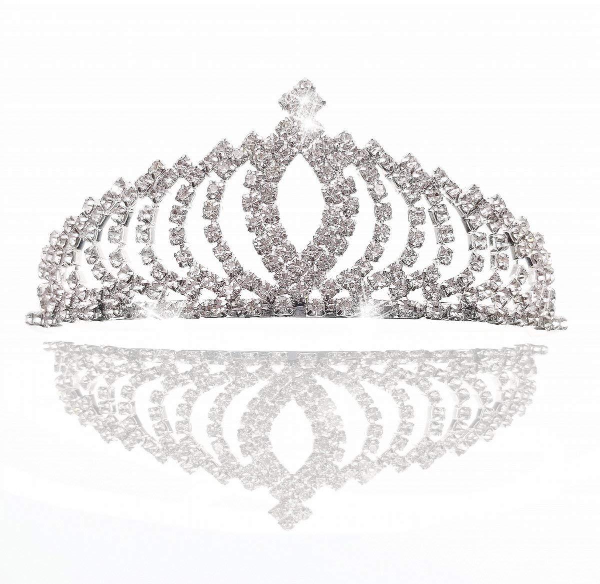 JZK Robe de Mariage Nuptiale Princesse Rhinestone de la Couronne de Cristal pour Les Enfants et Les Adultes, en Alliage d'aluminium en métal plaqué Argent diadème en Alliage d'aluminium en métal plaqué Argent diadème
