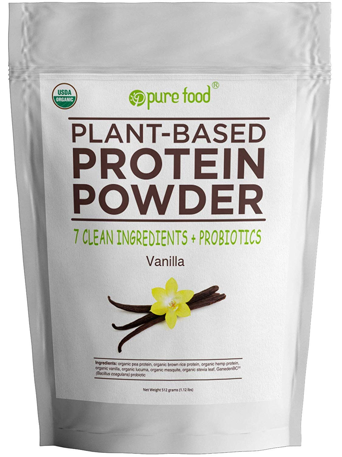 Pure Food: Plant Based Protein Powder with Probiotics | Organic, All Natural, Vegan Whole Food Ingredients with No Additives | Gluten, Dairy, Soy Free, Keto Friendly | Vanilla Bean, 512 Gram Bag