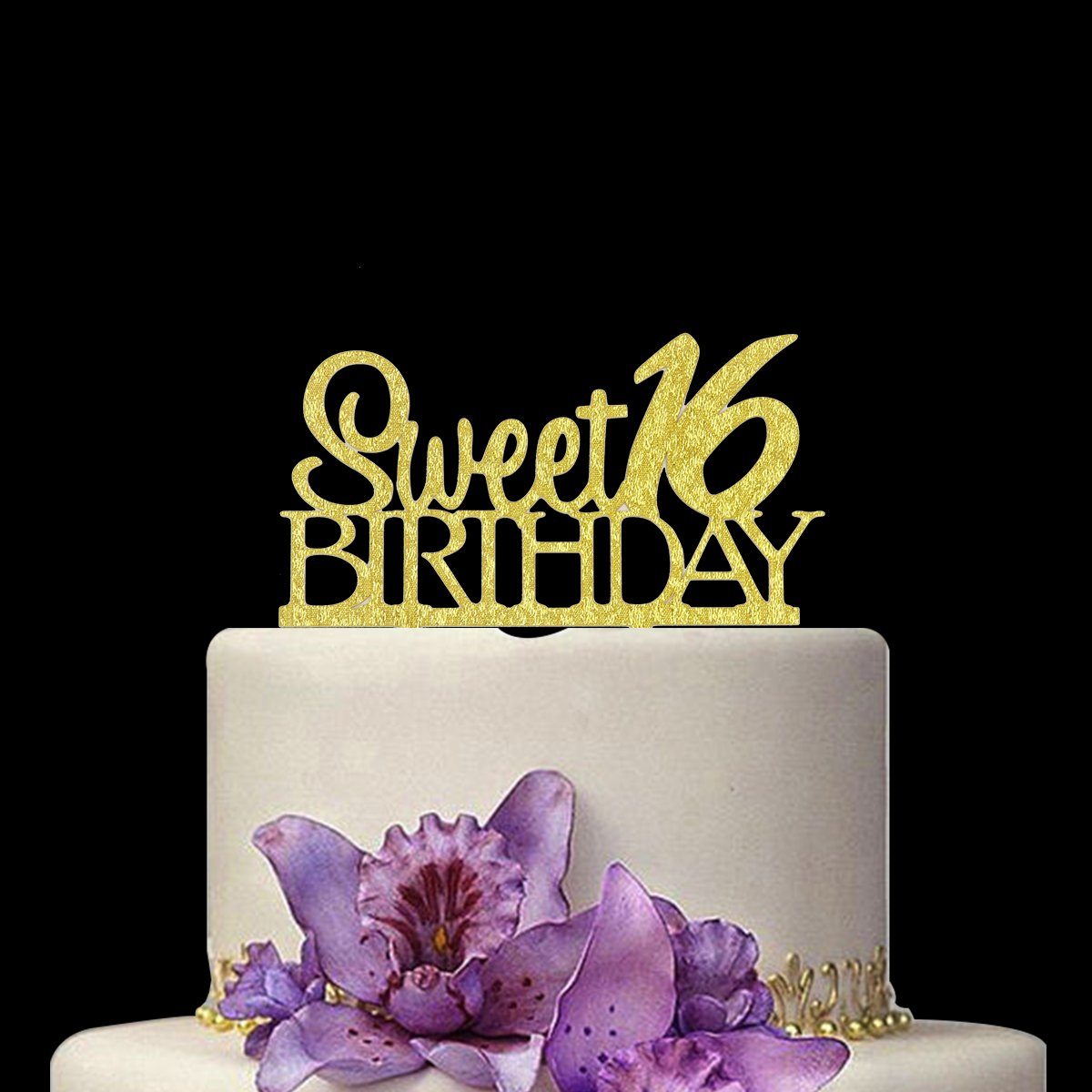 Amazon Huuflyty Sweet 16 Cake Topper 16th Birthday For Party Themes Decoration Supplies Toys Games