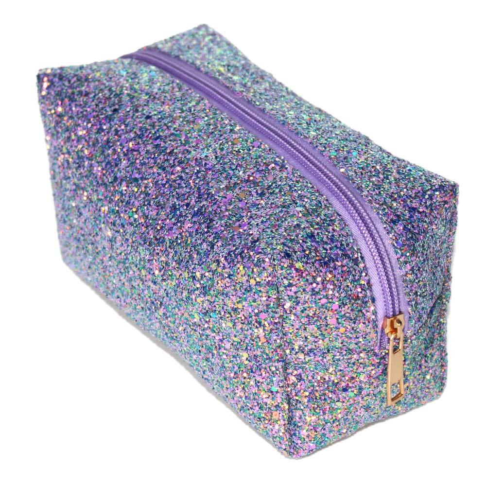Glitter Makeup Bag Organizer Portable Cosmetic Pouch Travel Brush Holder Handbag with Gold Zipper Pencil Storage Case for Women Purse (Glitte Purple)