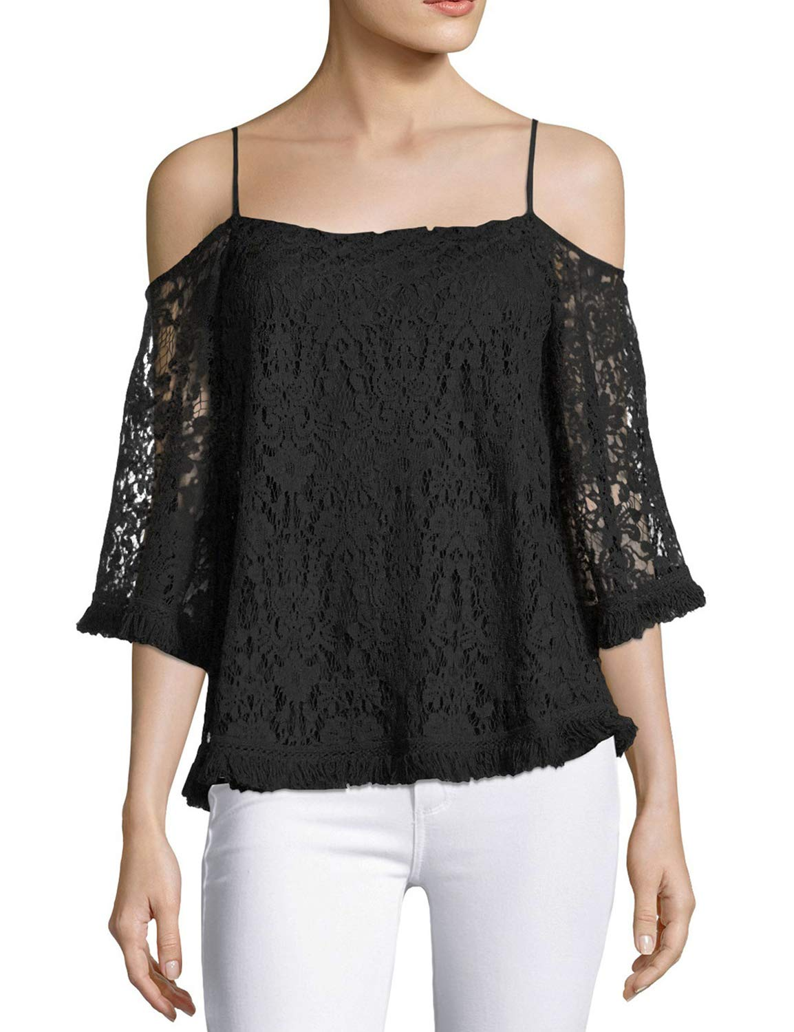 Blooming Jelly Womens Lace Top Off Shoulder Loose Tops Slip T Shirts Tee Shirt Black